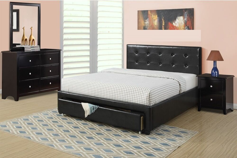 ... Black Faux Leather Queen Full Size Extra storage Bed 4Pc Bedroom Set