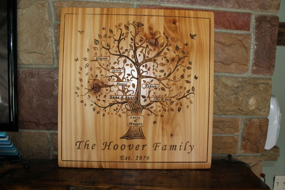 Family Tree Wedding Gift: Personalized Family Tree Sign Carved Last Names Wedding