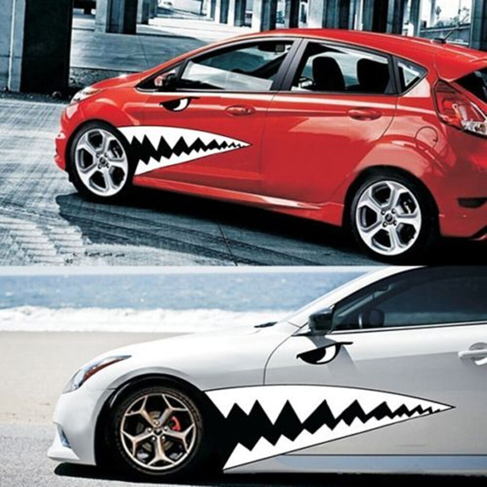 2pcs Waterproof Diy Shark Teeth Car Body Sticker Auto