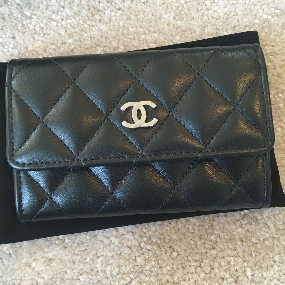 b39507f8ebe9 Details about Chanel Classic Quilted Lambskin Snap Button Card Holder Black  Silver Wallet