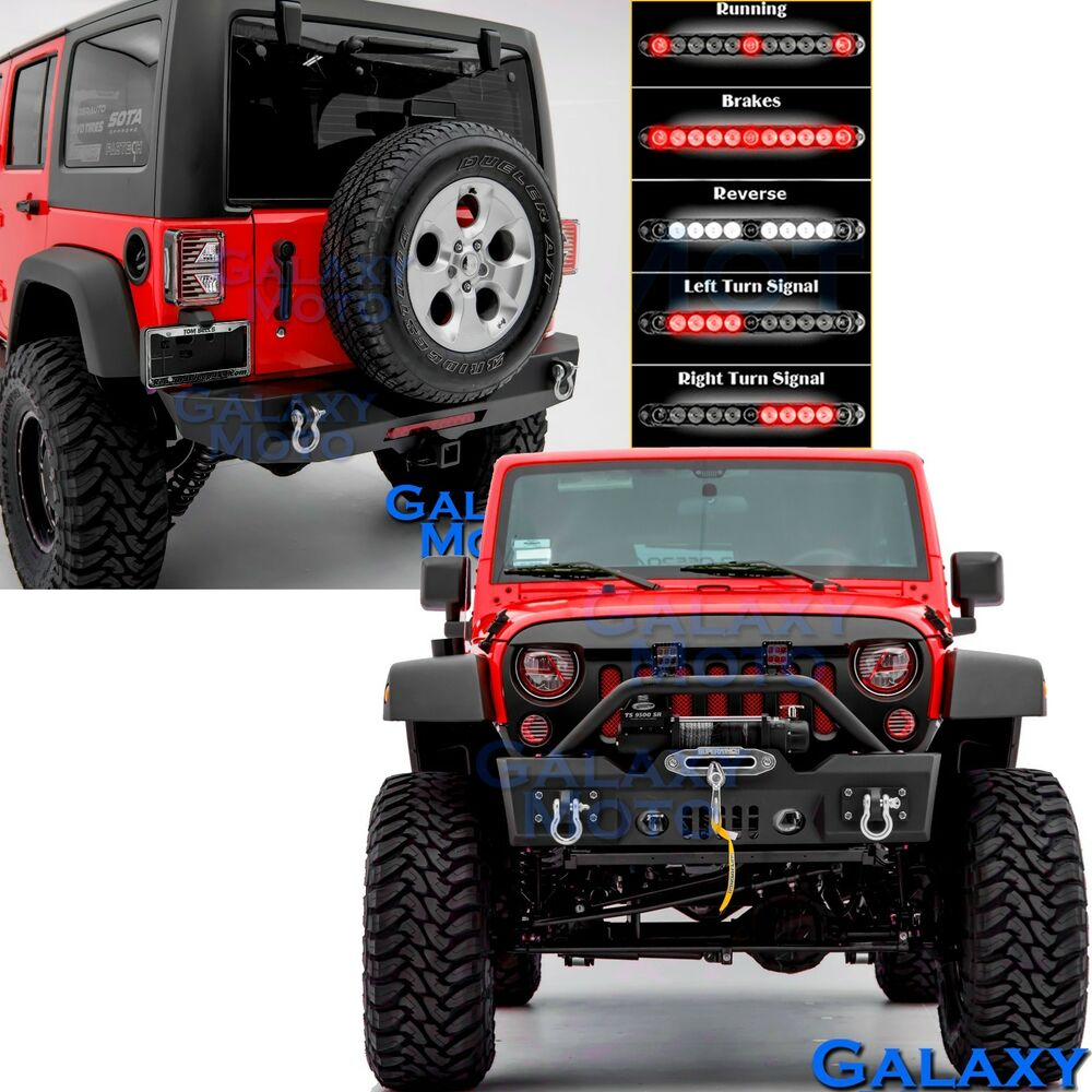 "Stubby Front+Rear Bumper+LED Brake Light+2"" Hitch Fit 07"