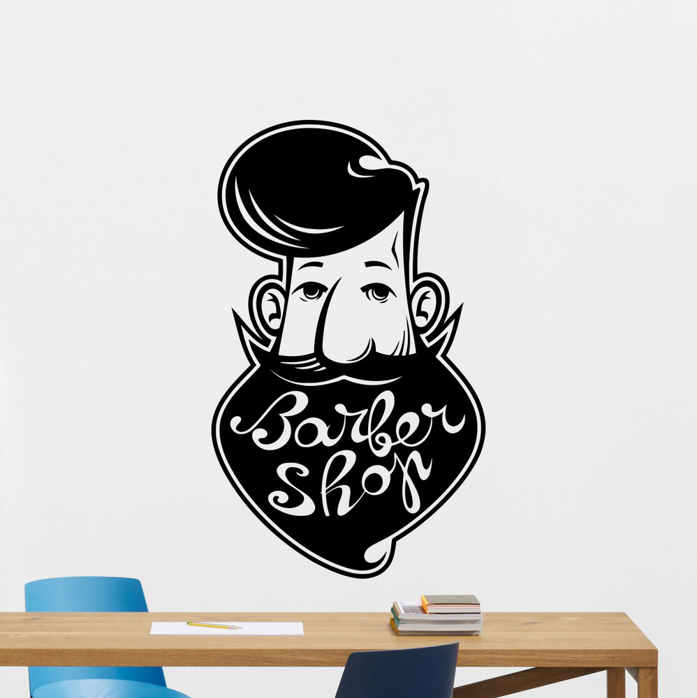 Barbershop wall decal barber shop vinyl sticker hair salon for Stickers salon