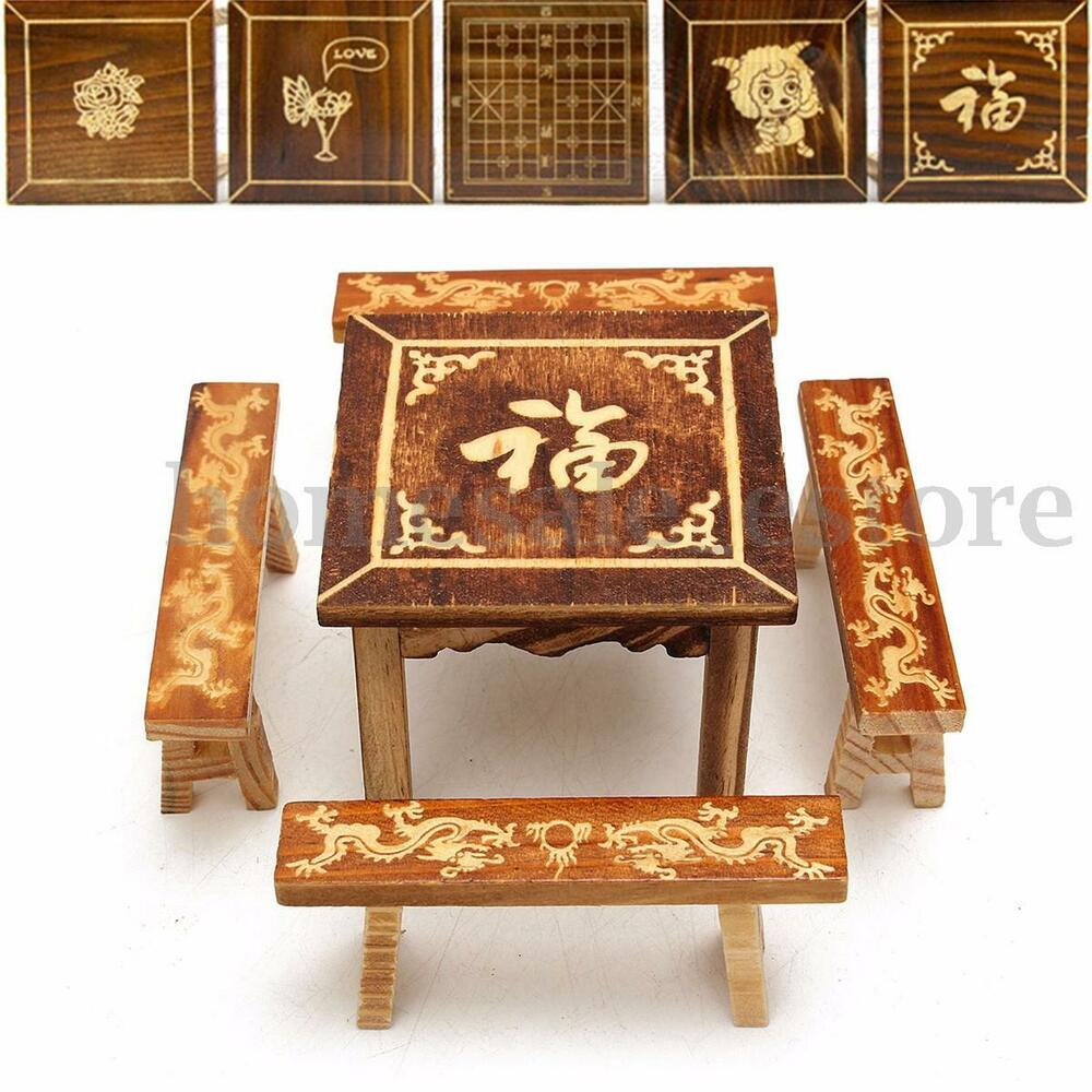 Dollhouse Miniature Furniture Wooden Mini Dining Room Table And 4 Chairs Set N Ebay