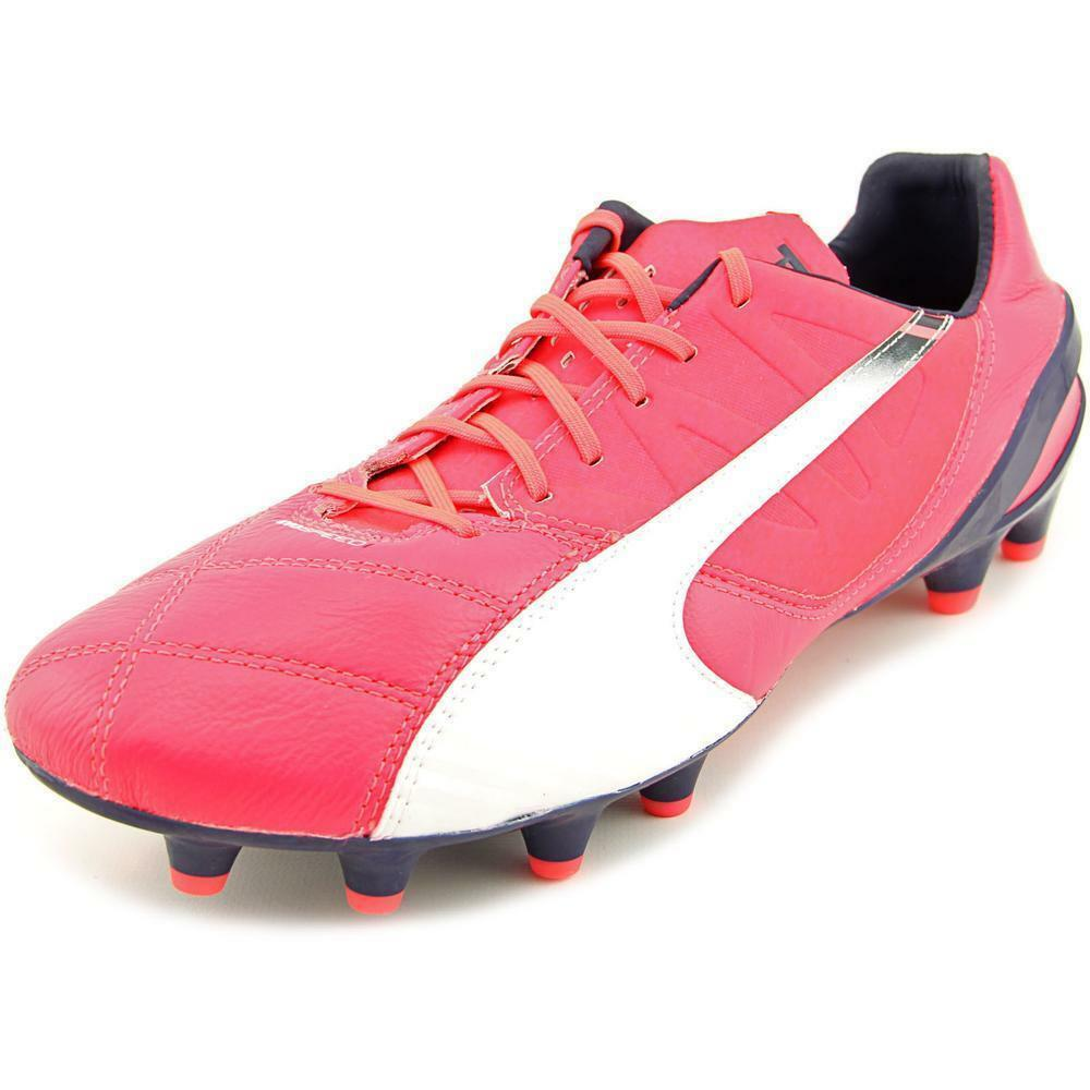Details about  200 Puma EvoSpeed 1.3 Leather FG Bright Plasma White Peacoat  Sz 9 Soccer Cleats 8f6da19197d6