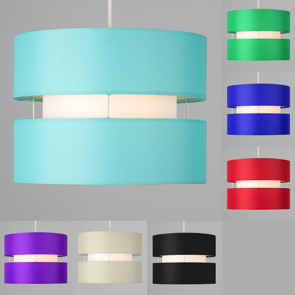 Easy Ceiling Lamp Shade: Modern 2 Tiered Cylinder Ceiling Pendant Light Shade