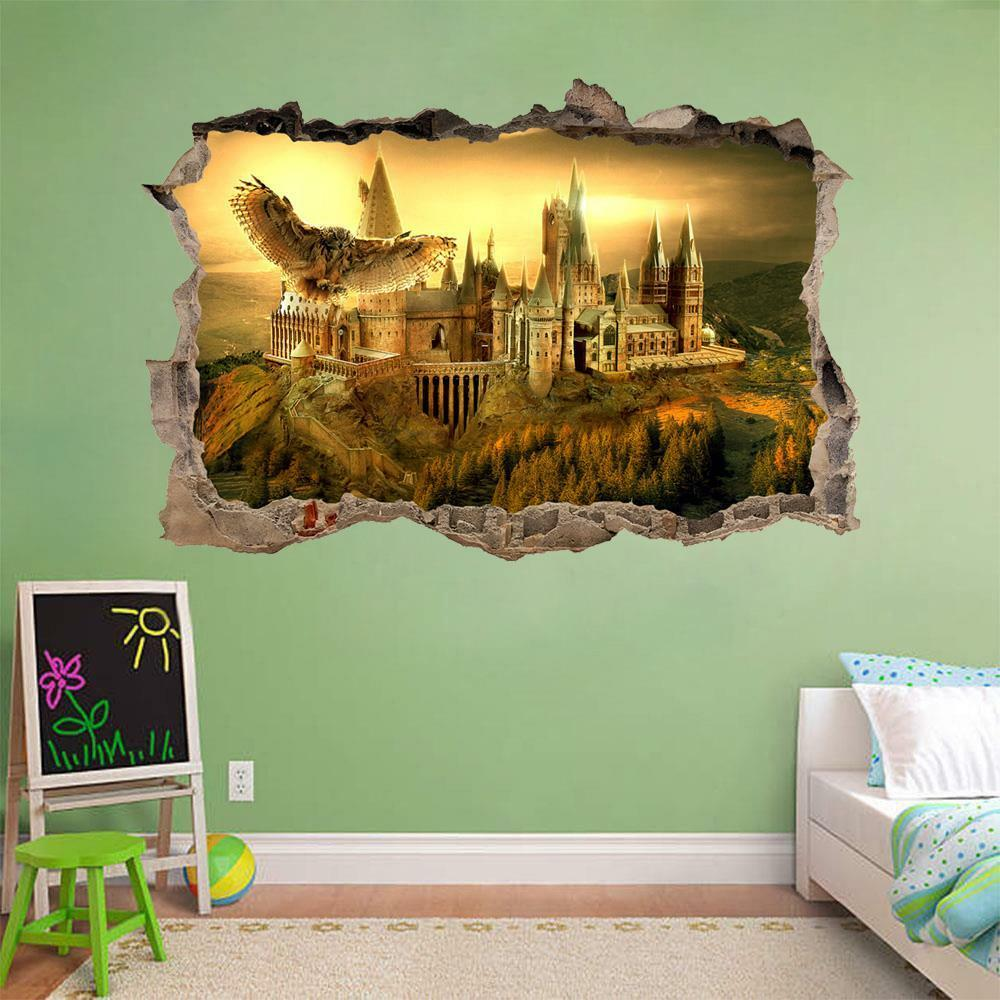 Hogwarts harry potter smashed wall decal removable wall for Castle wall mural sticker