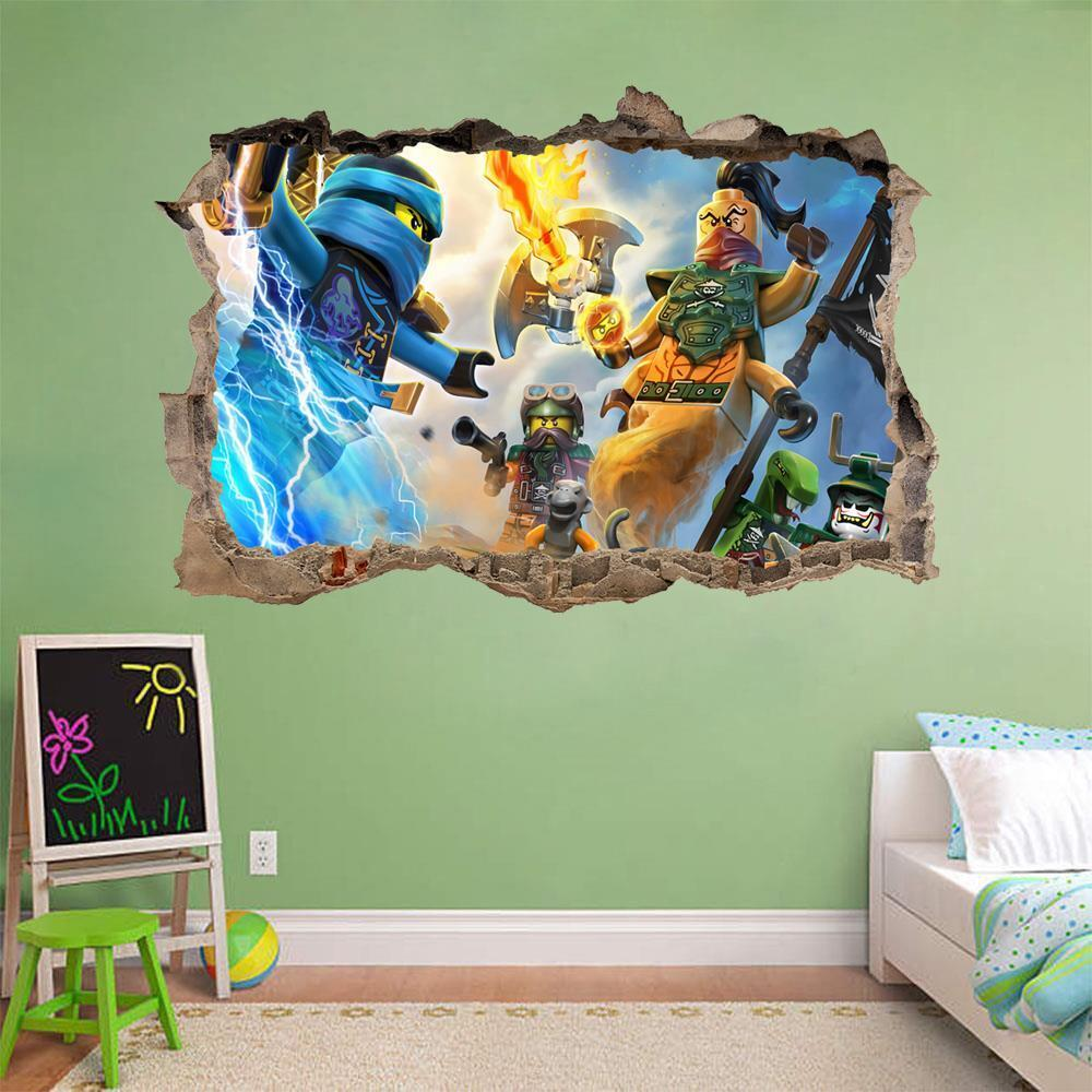 Details about lego ninjago smashed wall decal graphic wall sticker decor art mural h447