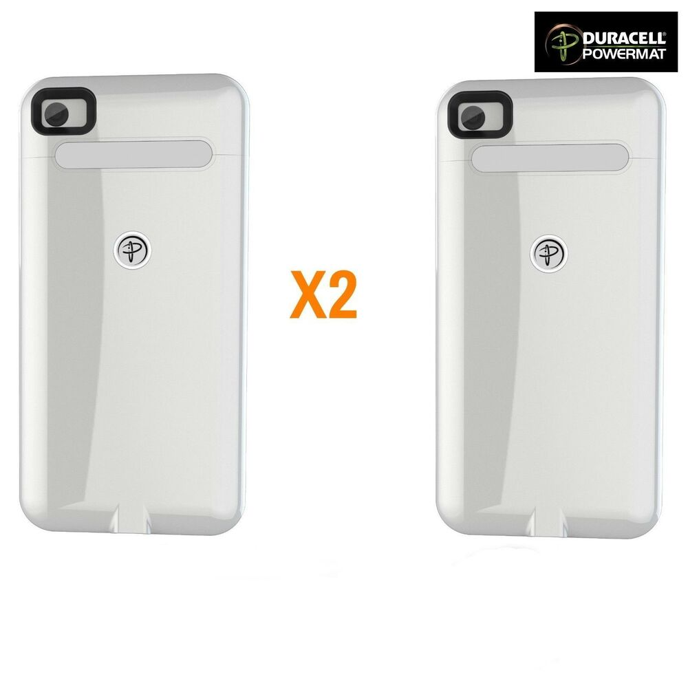 Duracel Power Mat: 2X White Duracell Powermat WIRELESS Charging Cases For