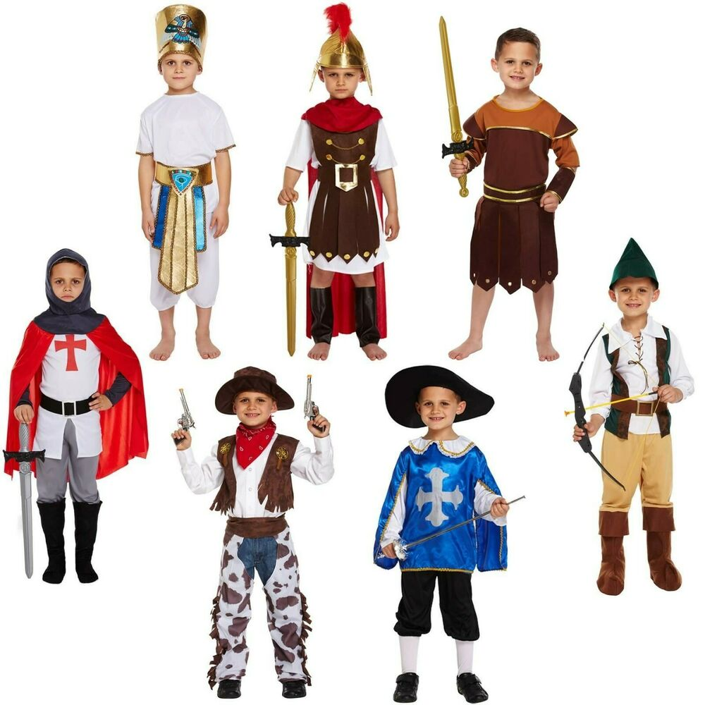 Boys Fancy Dress Up Costume Outfit Age 4-12 Knight Roman Musketeer Egyptian New | eBay