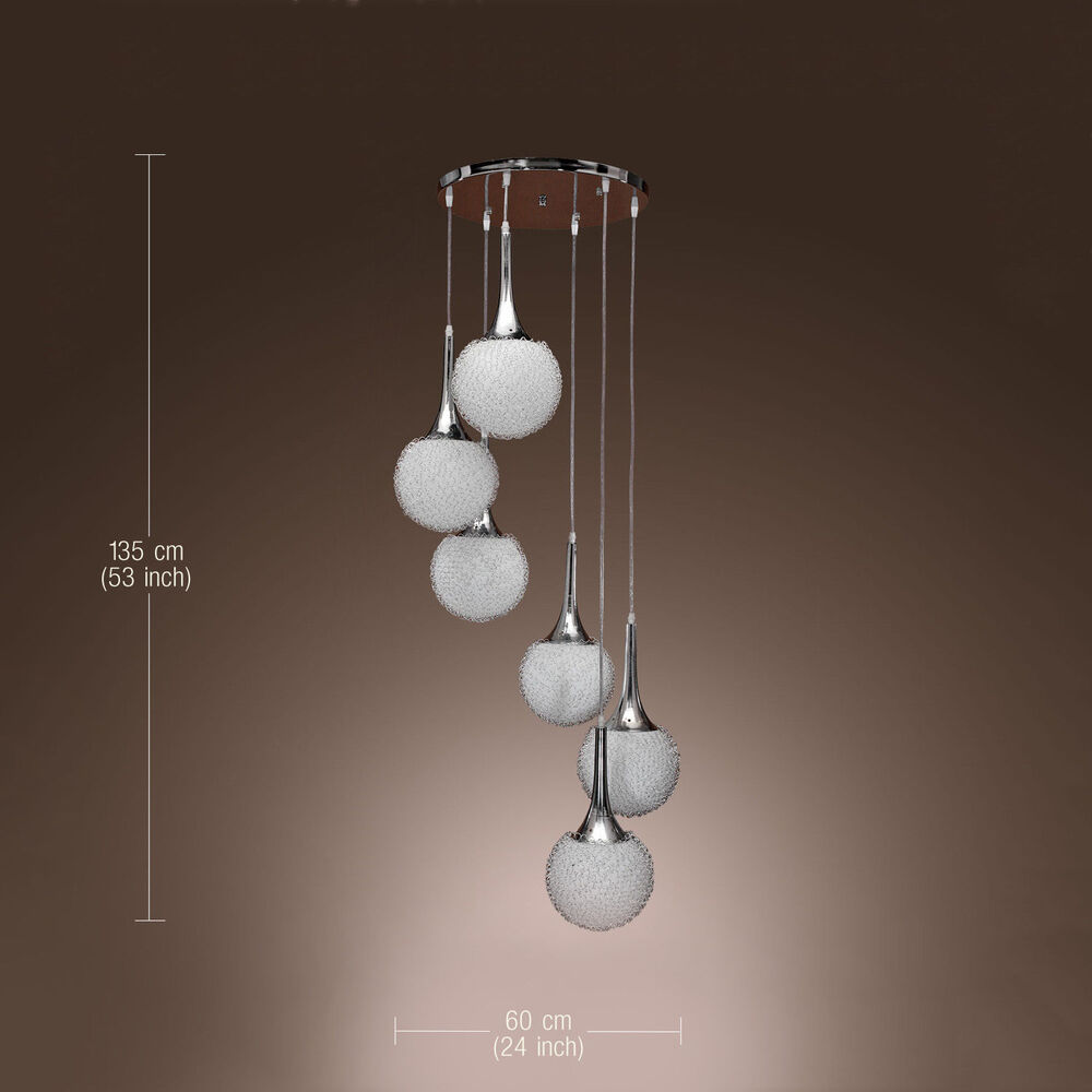 Contemporary Pendant Lamp Ceiling Light 6 Light Wire Ball