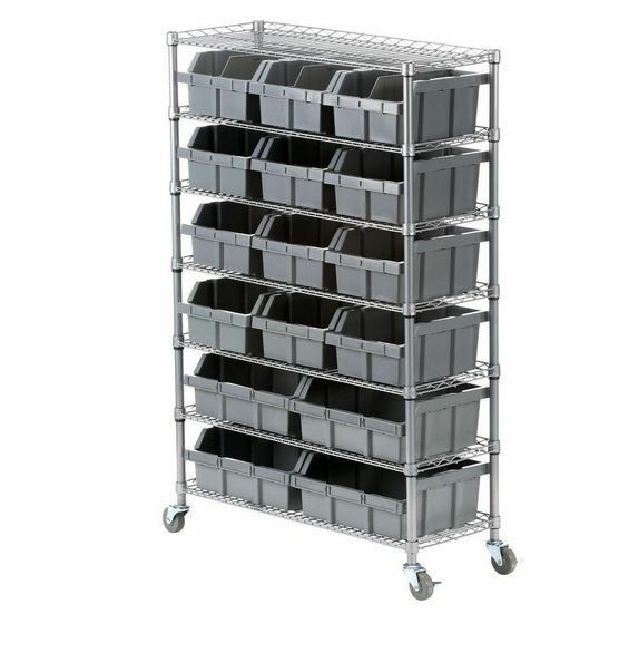 rolling shelf rack new rolling shelving 7 shelf rack storage parts 25636