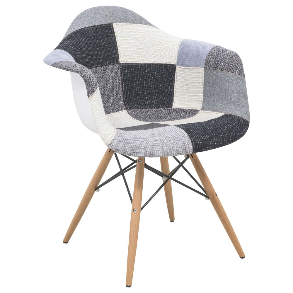 Willow Patchwork Fabric Eiffel Accent Chair Ebay