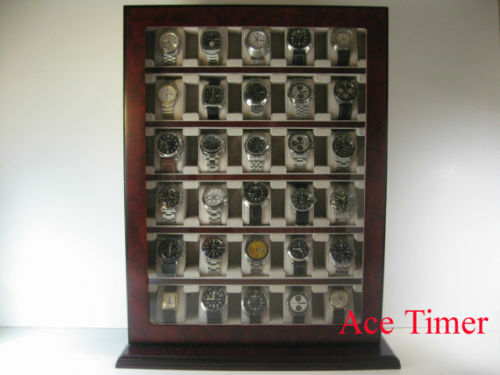 30 Watch Cherry Wood Stand Wall Display Storage Case Fit