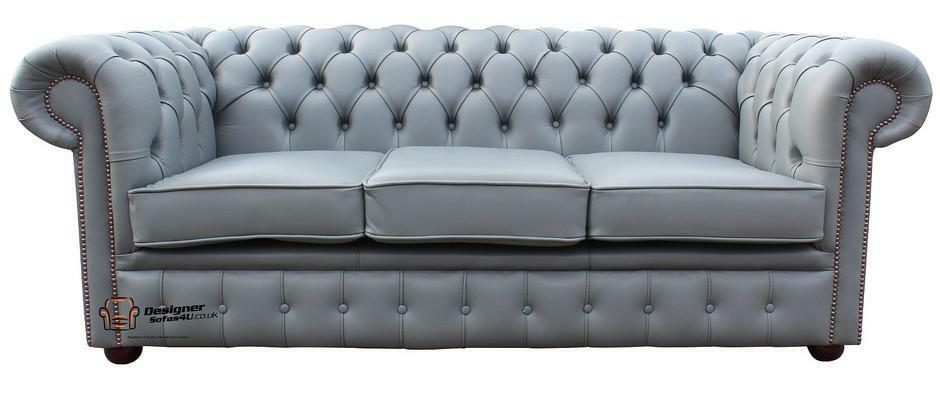 Chesterfield Traditional 3 Seater Sofa Suite Settee Moon Mist Grey Leather eBay