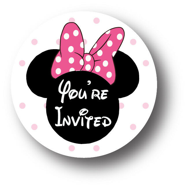 30 Minnie Mouse Birthday Party Invitation Stickers