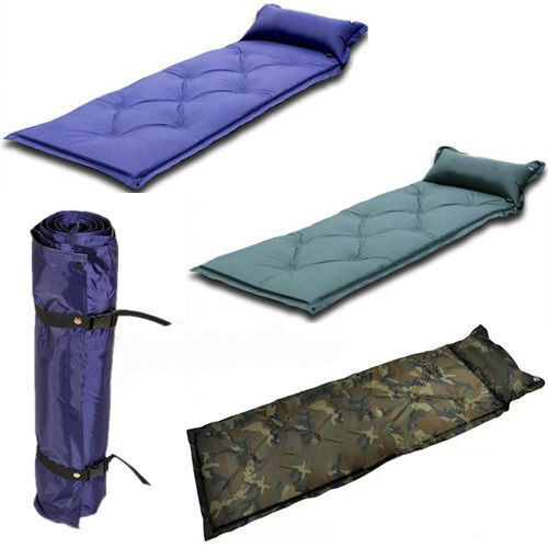Single Self Inflate Camping Mat Inflatable Pillow Sleeping ...
