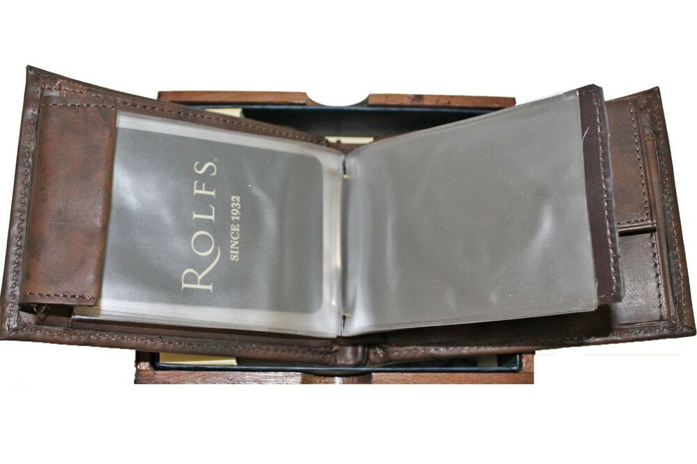 Rolfs premium brown genuine leather bifold mens wallet w for Men s valet box