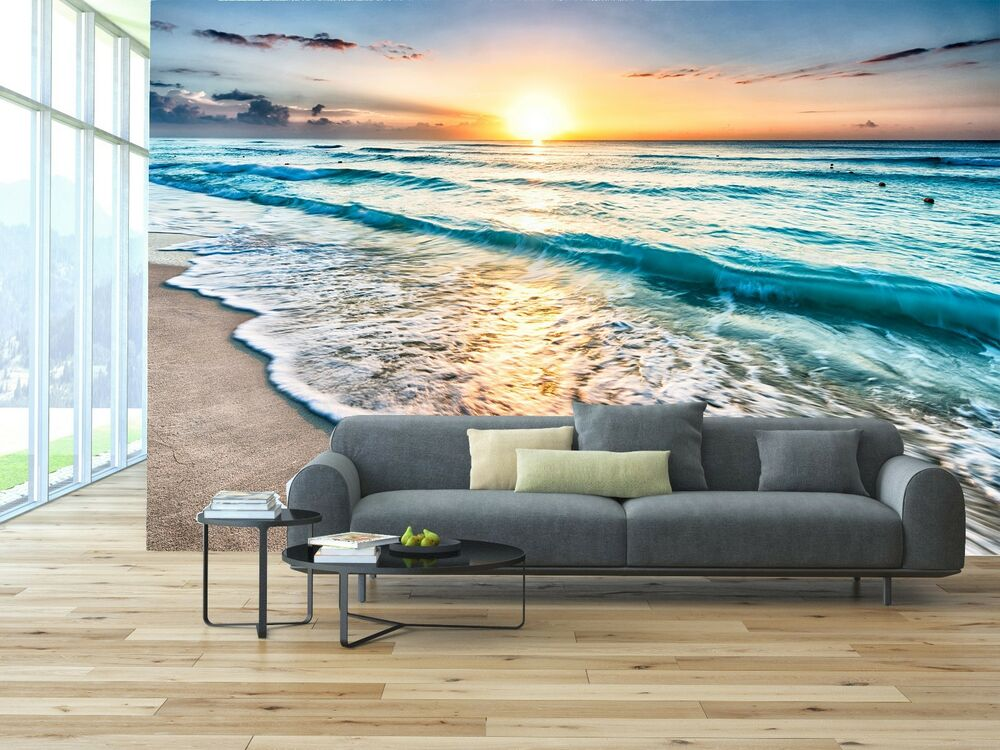 Sunrise Over Beach 3D Mural Photo Wallpaper Decor Large