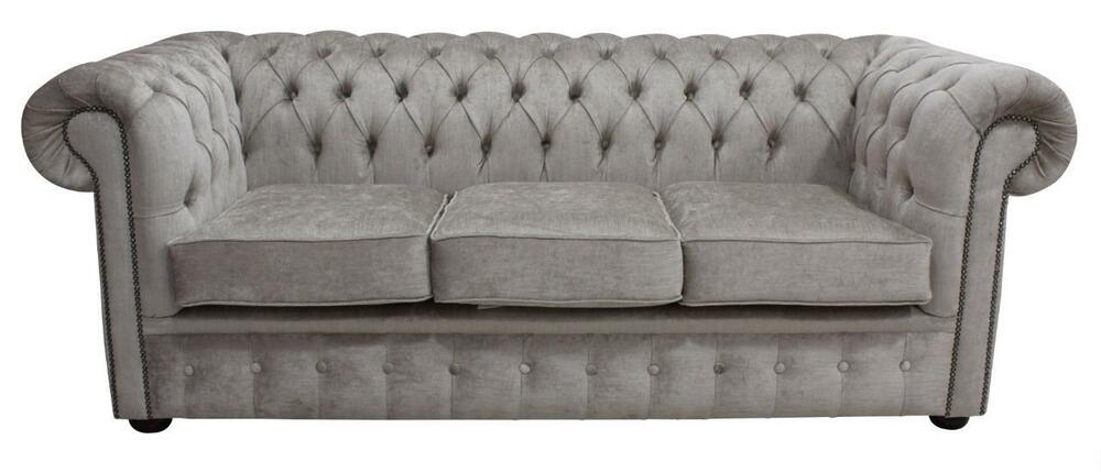 chesterfield 3 seater pimlico beige fabric sofa settee ebay. Black Bedroom Furniture Sets. Home Design Ideas