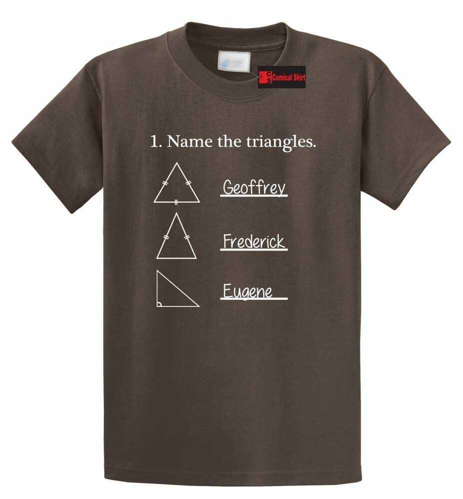 Name the triangles funny math t shirt geometry quiz for University t shirts with your name