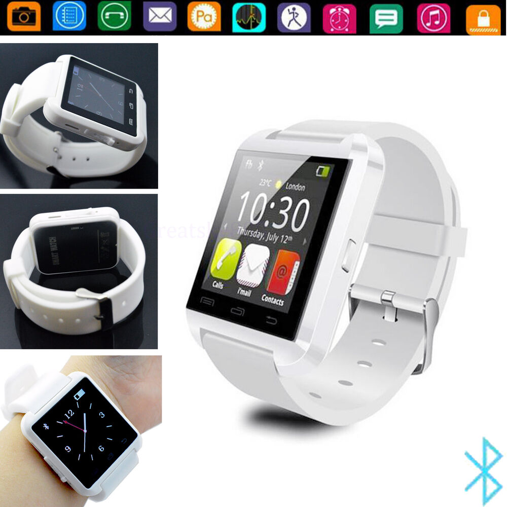 white bluetooth smart watch for android samsung galaxy s7 s6 s5 lg k8 k 8 k350n ebay. Black Bedroom Furniture Sets. Home Design Ideas