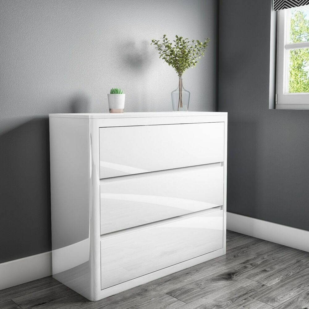 white high gloss chest of drawers 3 drawers modern design ebay