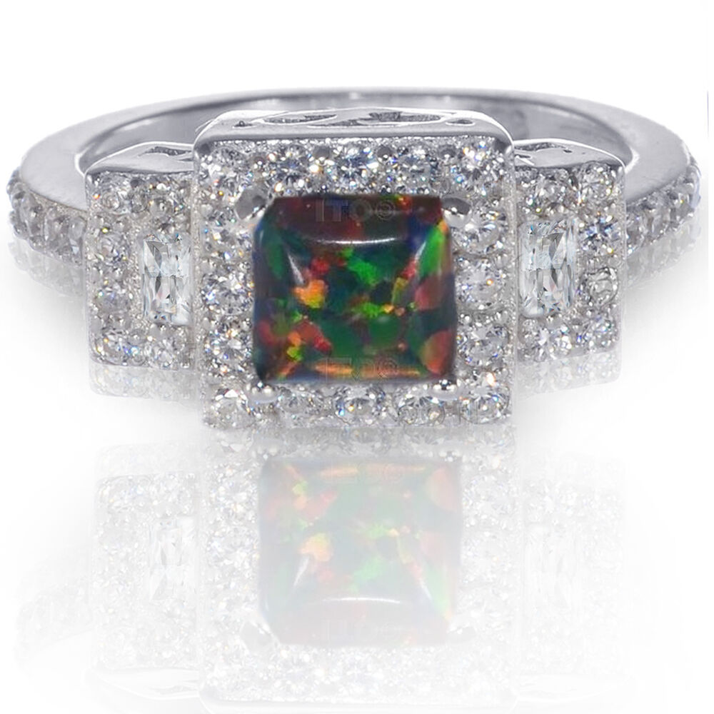 Princess promise engagement australian black fire opal cz for Australian wedding rings