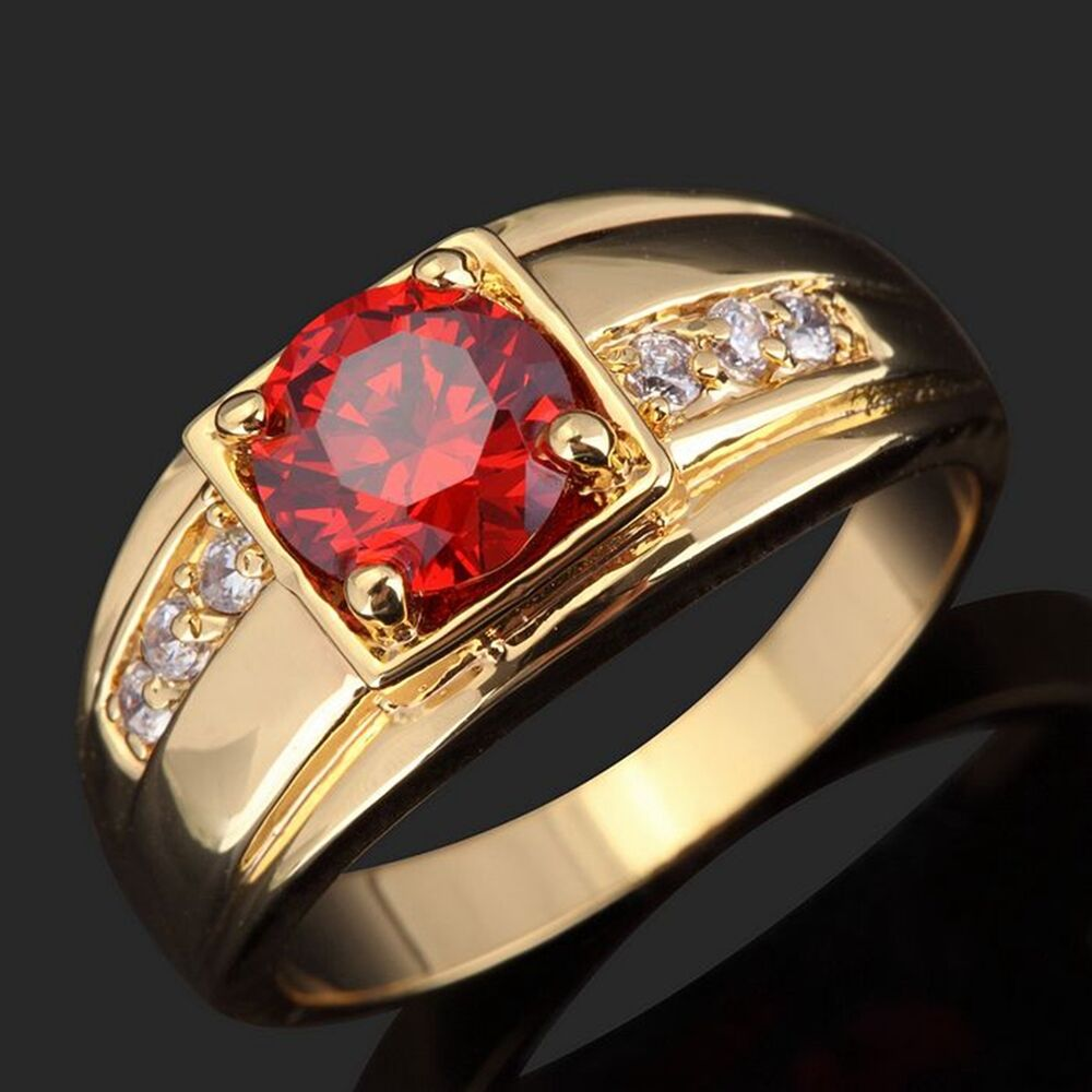 Fashion Engagement Size 8 9 10 11 Garnet 18k Gold Filled