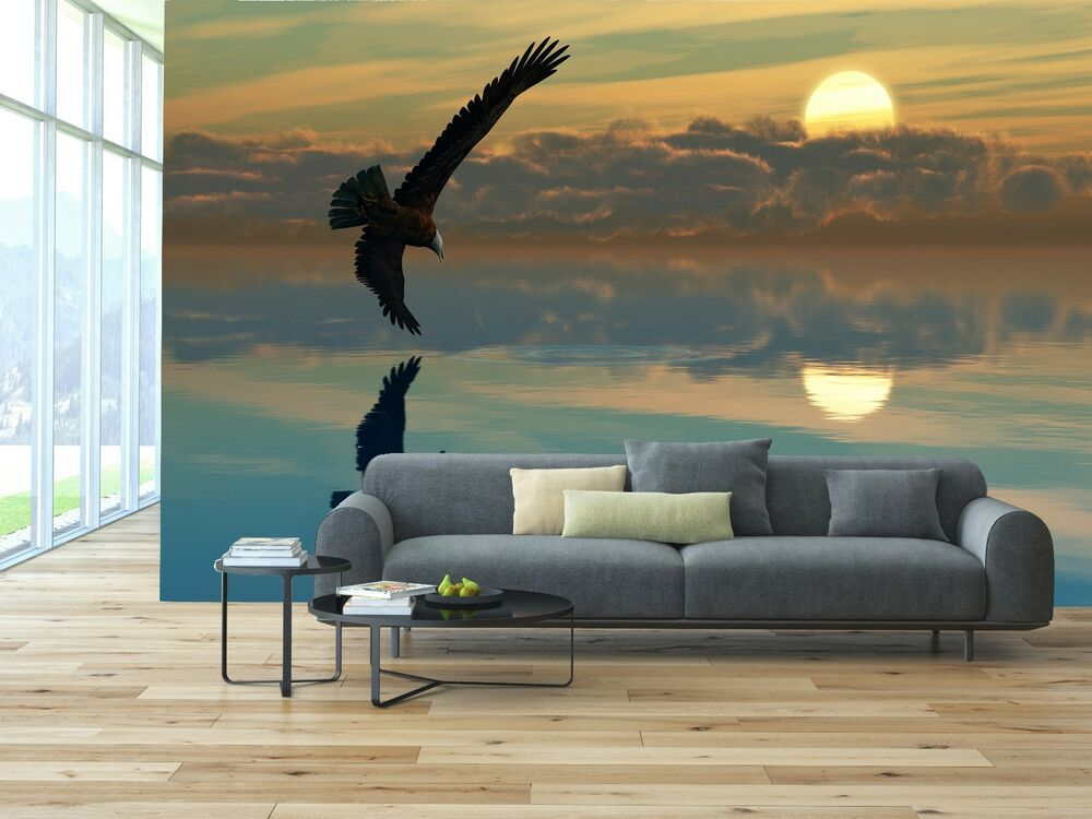 Eagle lake calm mural photo wallpaper decor paper wall for Eagle wall mural
