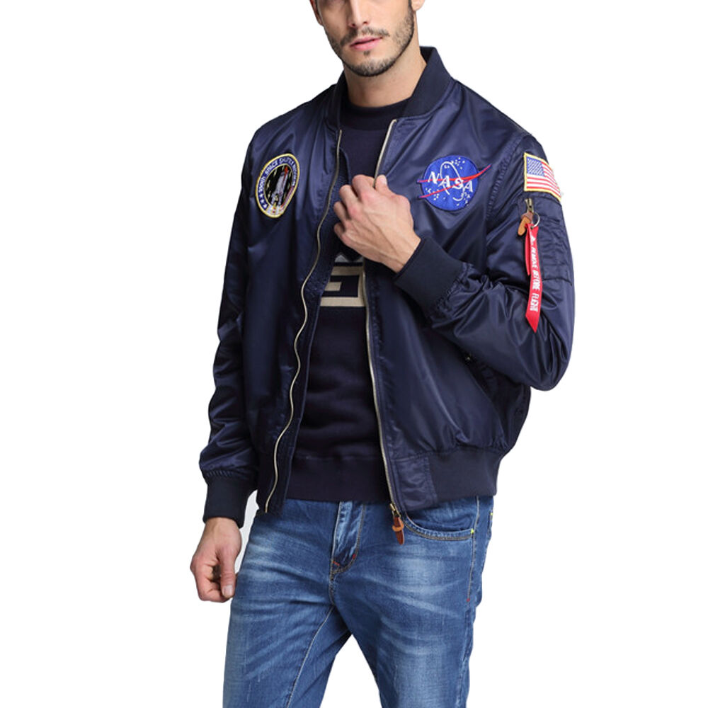US NASA MA1 Flight Bomber Jacket Baseball Coat XS-2XL Thin Coat