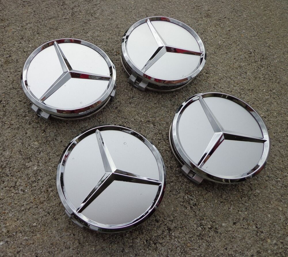 Mercedes center caps set 4 silver chrome star 75mm 3 for Mercedes benz wheel cap emblem