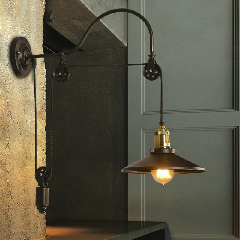 Gooseneck Wall Mount Lamp : Hot Industrial Wall Mounted Gooseneck Lamp Light Fixture Pulley Reflector Sconce eBay