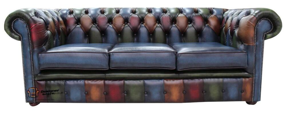 Chesterfield 3 Seater Antique Patchwork Antique Leather ...