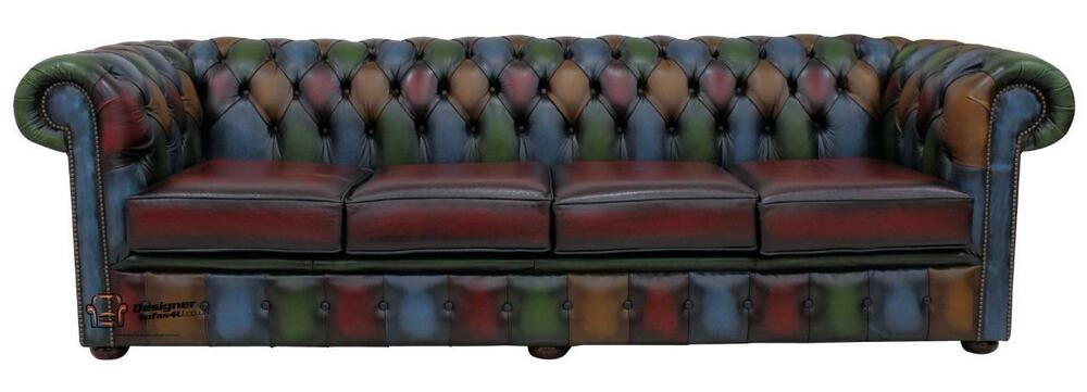 chesterfield 4 seater antique patchwork antique leather. Black Bedroom Furniture Sets. Home Design Ideas
