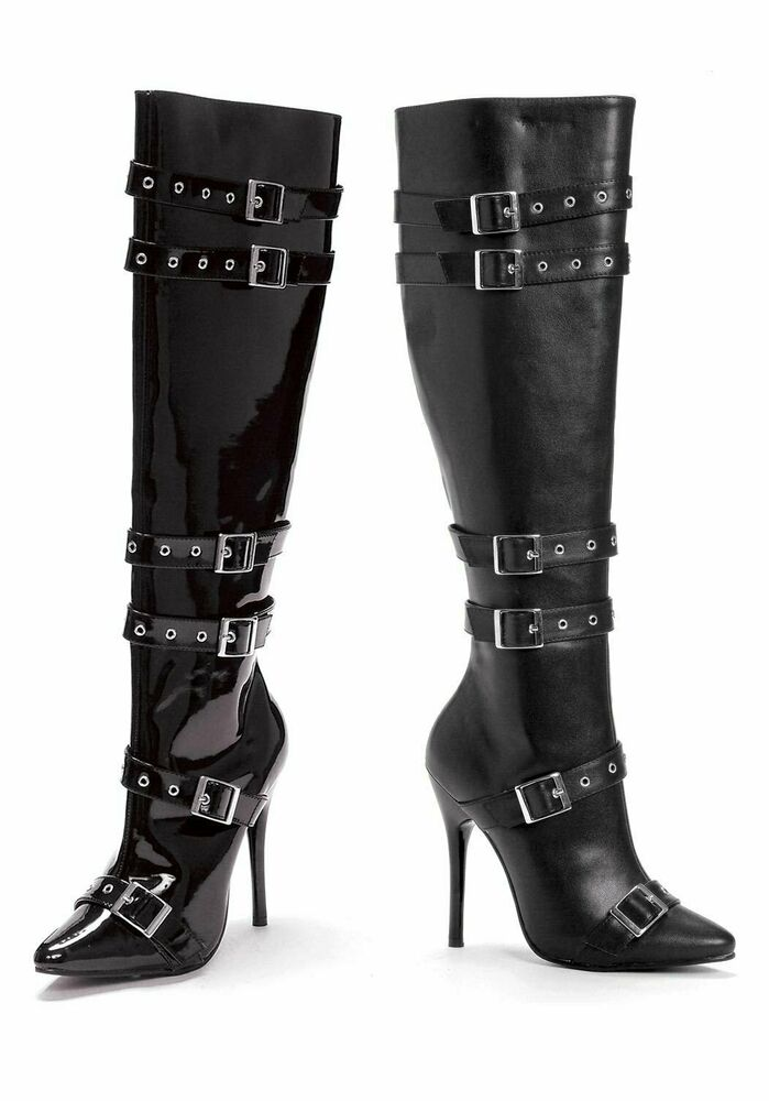 5 Inch Heel Knee High Boot Womens Size Shoe With Buckles -7941