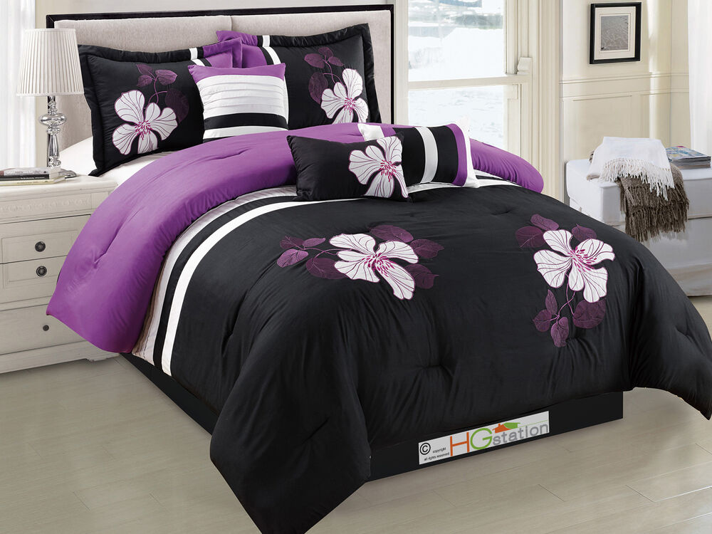 7 Applique Embroidery Floral Blossom Comforter Set Purple