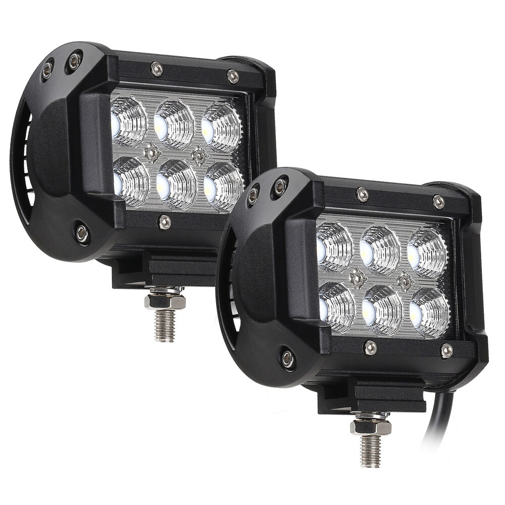 2 PACK 18W Cree LED Off-Road Work Light Bar, 1800lm 6000K