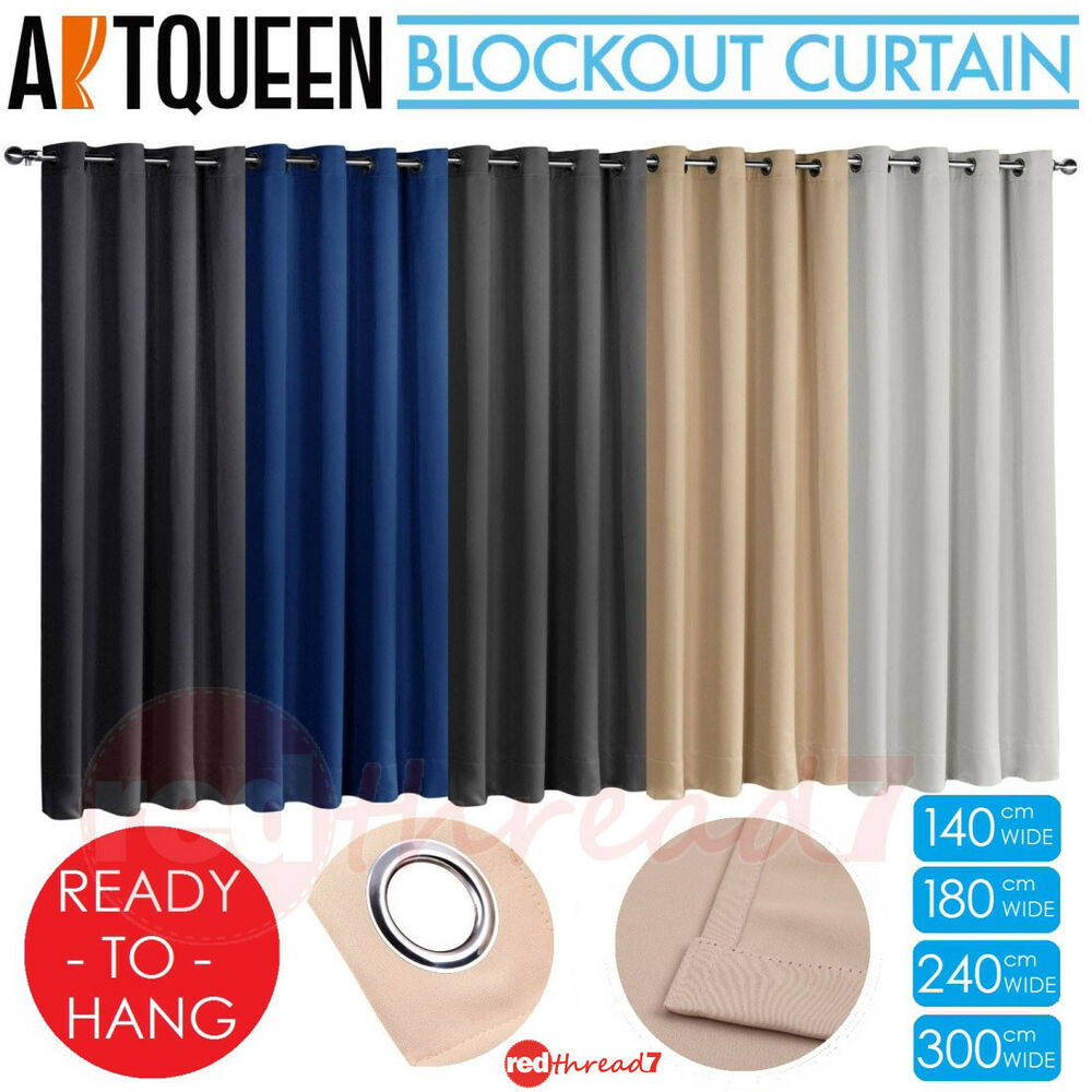 Blockout Eyelet Ready To Hang Curtains Blackout Room 3 Pass Eco Fabric Curtain Ebay