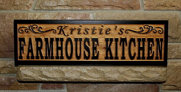 Custom farmhouse kitchen sign wood carved personalized rustic farmhouse decor ebay - Custom signs for home decor concept ...