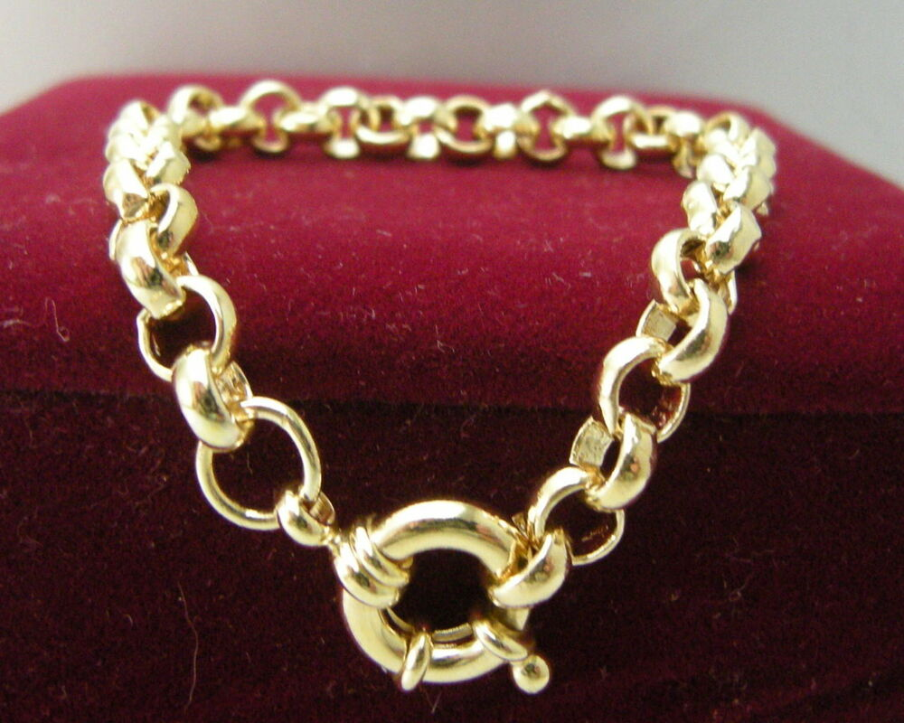 14ct 14k Yellow Gold Belcher Bolt Ring Chain Solid Womens
