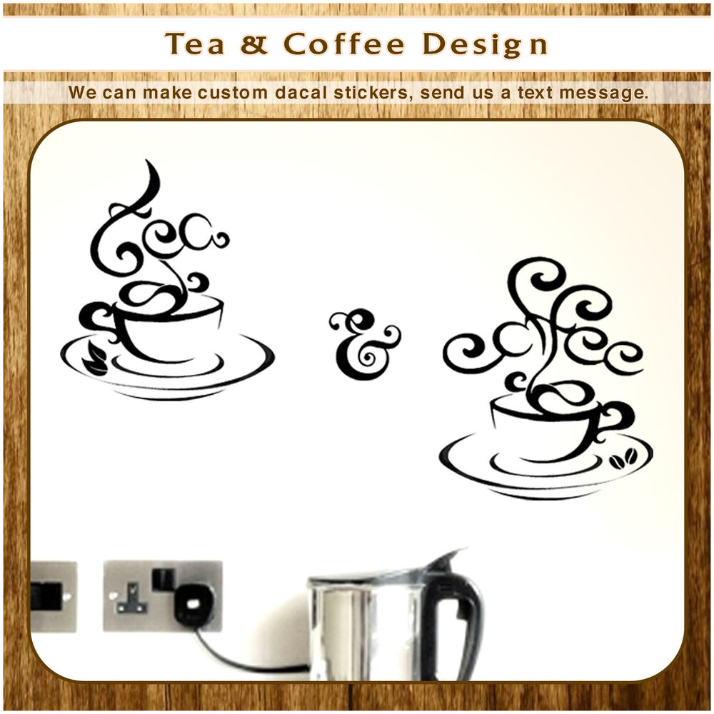 Abstract coffee tea cups kitchen wall stickers cafe for Tea and coffee wall art