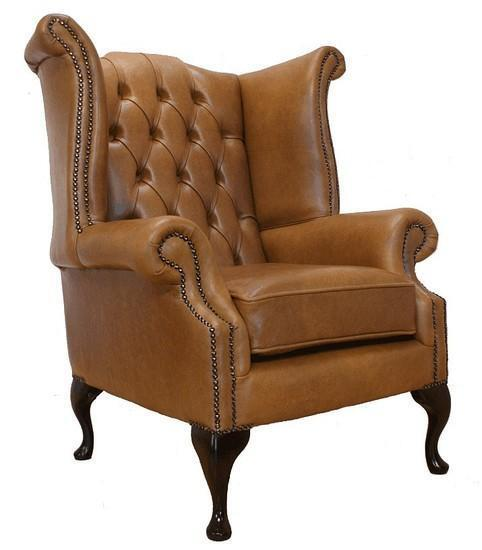 Chesterfield Armchair Queen Anne High Back Wing Chair Old