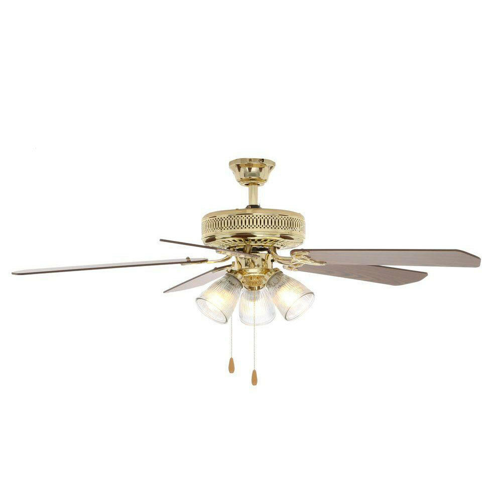 Hampton Bay 52 Indoor Polished Brass Ceiling Fan W