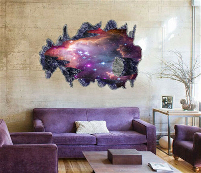 3d galaxy wall sticker decals purple outer space removable for Outer space vinyl wall decals