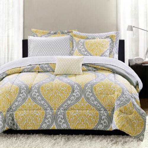 Yellow Gray White Geometric Damask 8 Piece Full Size