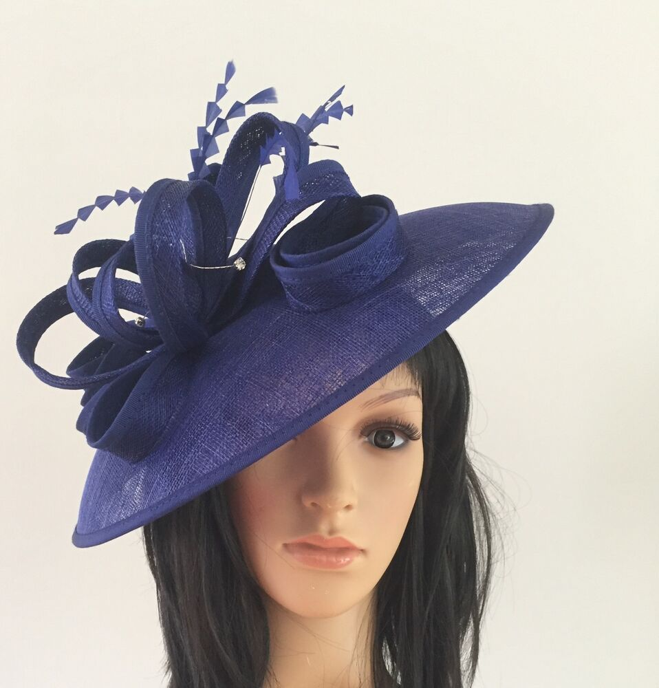 LADIES NEW ROYAL BLUE ASCOT WEDDING HAT DISC FASCINATOR