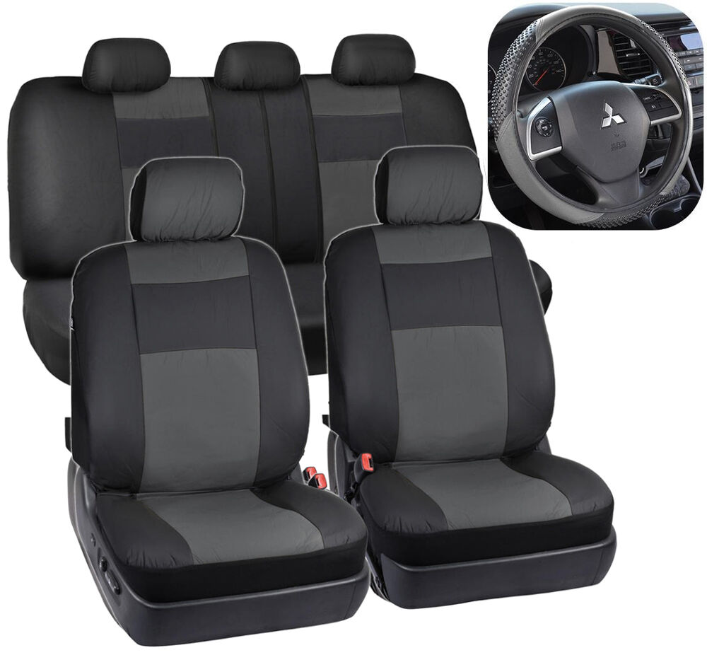 pu leather car seat covers massage grip steering wheel cover black gray ebay. Black Bedroom Furniture Sets. Home Design Ideas