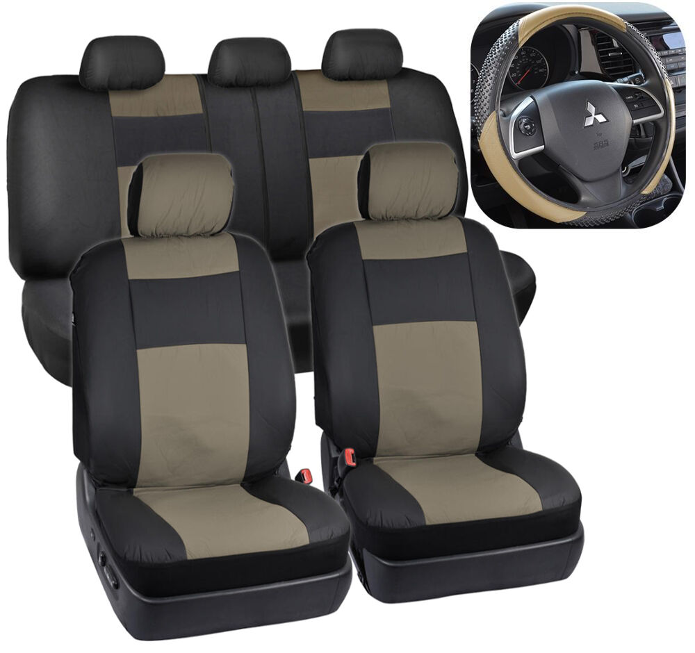 Beige/Black PU Leather Car Seat Covers & TwoTone Sport