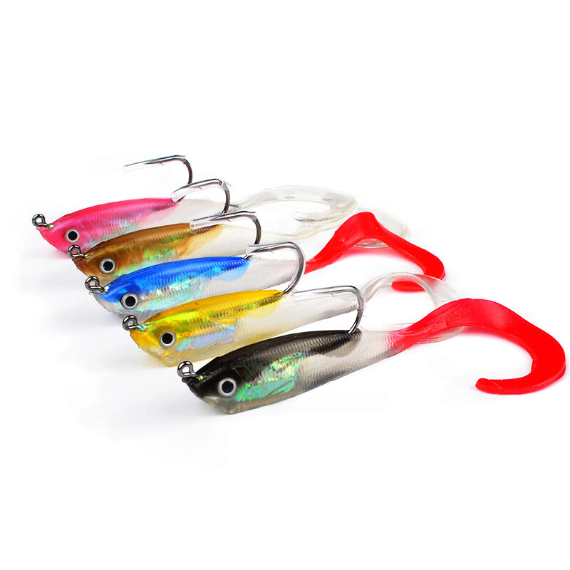 Lot 5 1pcs soft silicone lures fishing lure soft bait for Fishing lures ebay