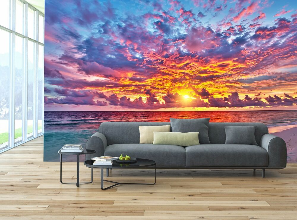 Sunset Over Ocean Mural Photo Wallpaper Decor Paper Wall